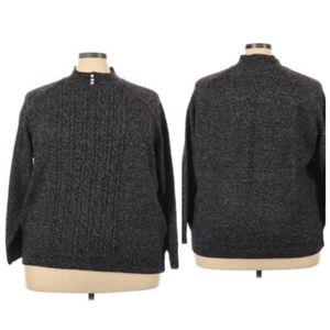 Karen Scott Cable Knit Mock Neck Pullover Sweater